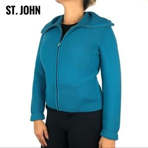 St. John Blue Zip Up Knit Cardigan Sweater